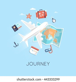 Travel by plane. World adventure. Planning summer vacations. Tourism theme. Flat design vector illustration.