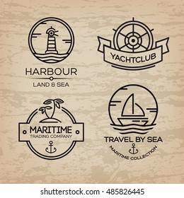 Travel by sea. Set of Maritime collection logo