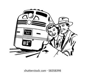 Travel By Train - Retro Clip Art