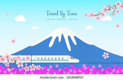 Travel By Train vector illustration, Railway with Fuji mountain, Pink moss field and Cherry blossom branch. Travel Japan concept