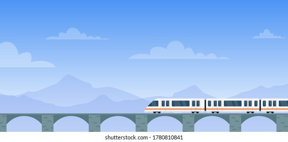 Travel by train vector illustration. Cartoon flat modern electric express train with travelers traveling by rail road on railway bridge to next station. Mountain landscape adventure background