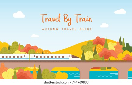 Travel By Train vector illustration, Railway running on the Viaduct with view of colorful autumn trees