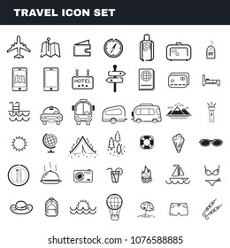 Travel and camping theme flat outline vector icon set