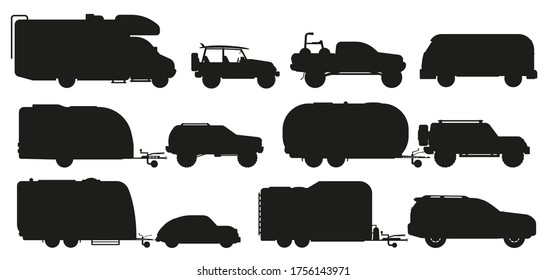 Travel car silhouette. Camping car set. Isolated RV camper caravan, motorhome, van, travel trailer, automobile flat icon collection. Tourism transport recreational vehicle, mobile home transportation
