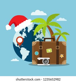 Travel to Caribe's beach in Christmas holiday. Vector illustration