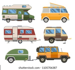 Travel cars collection. Rv campers, camping trailers and caravans set. Road traveler trucks and motorhomes in flat design.