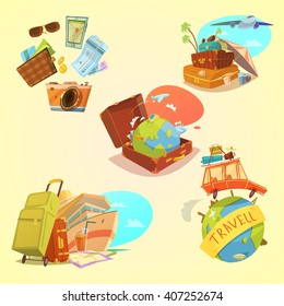 Travel cartoon set with map luggage and transport symbols on yellow background  isolated vector illustration