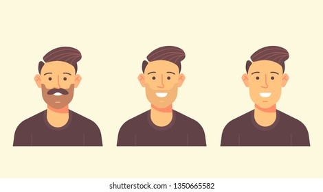 Travel character kit. Man with the beard, unshaved and shaved. Vector flat design illustration. Userpic illustration.
