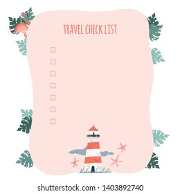 Travel check list. Lighthouse and palm leaves cartoon hand drawn illustration. Stock vector