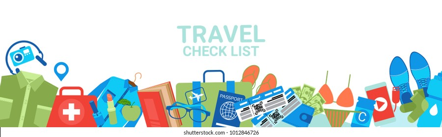 Travel Check List Templae Horizontal Banner With Copy Space Packing Planning Concept Flat Vector Illustration
