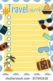 Travel checklist, Colorful summer template to plan trips or vacations
