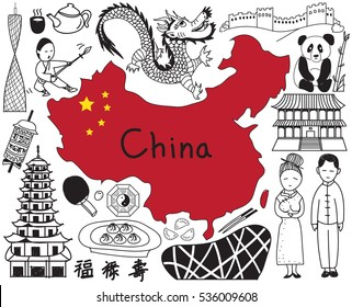Travel to China doodle drawing icon with culture, costume, landmark and cuisine tourism concept in isolated background. The Chinese text in the picture means wealthy, good luck, and long live (vector)