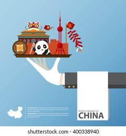 Travel to China infographic. Set of flat icons of Chinese architecture, food, traditional symbols. Vector Illustration