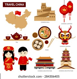 Travel to China. Set of icons of Chinese architecture, food, costumes, traditional symbols. ?ollection of illustration to guide China.