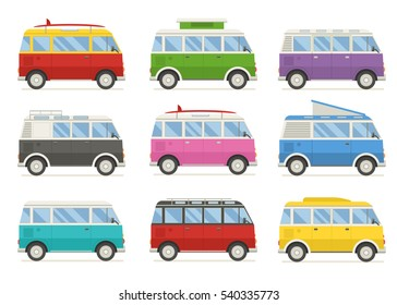 Travel classic minivan in different colors. Cartoon camping bus for family summer trip. Rv camper van in various modifications.
