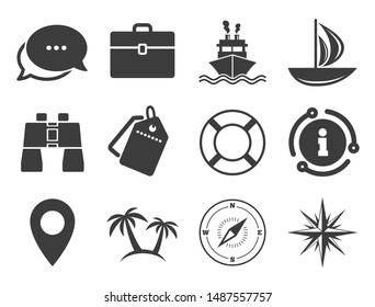Travel, cocktails and palm trees signs. Discount offer tag, chat, info icon. Cruise trip, ship and yacht icons. Sunglasses, windrose and swimming symbols. Classic style signs set. Vector