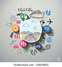 Travel collage with icons background. Vector illustration