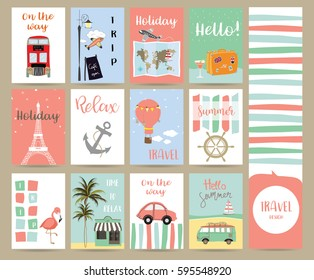 Travel collection for banners,Flyers,Placards with flamingo,balloon,bus in london,cafe,luggage,ship,anchor,coconut tree and Eiffel Tower in Paris