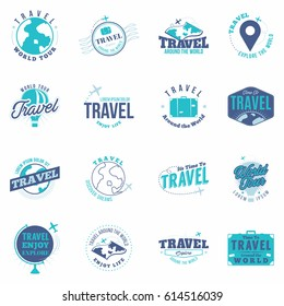 Travel colored  badges set. Collection of vintage travel labels, logo, stickers. Isolated. Vector.