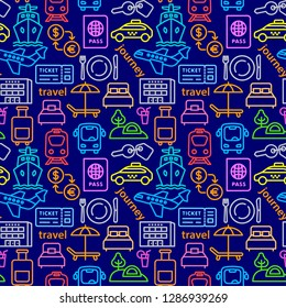 travel colorful seamles pattern of resort, cruise and transport