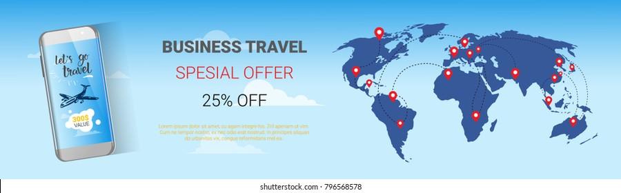 Travel Company Sale Banner Business Tour Special Offer Template Horizontal Poster with World Map Background, Tourism Agency Agency Seasonal Discounts Concept Vector Illustration