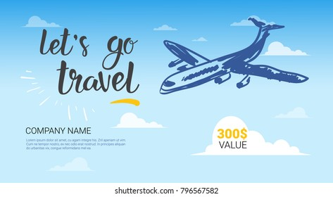 Travel Company Template Banner Airplane Flying In Sky Background Tourist Agency Flyer Vector Illustration