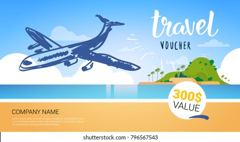travel company template voucher with airplane flying over beautiful tropical beach background tourist agency poster design