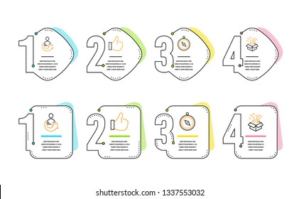 Travel compass, Like and Share icons simple set. Gift sign. Trip destination, Thumbs up, Referral person. New year. Business set. Infographic timeline. Line travel compass icon. 4 options or steps