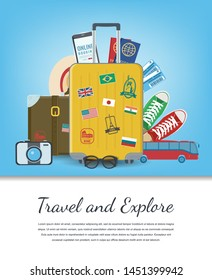 Travel composition with travel equipment. Travel and Tourism concept. Vector illustration