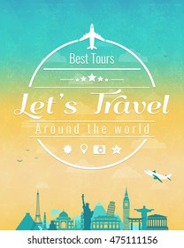 Travel composition with famous world landmarks and vintage badge. Travel and Tourism. Abstract background. Vector illustration