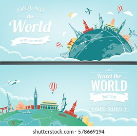 Travel composition with famous world landmarks. Travel and Tourism. Concept website template. Vector. Modern flat design.