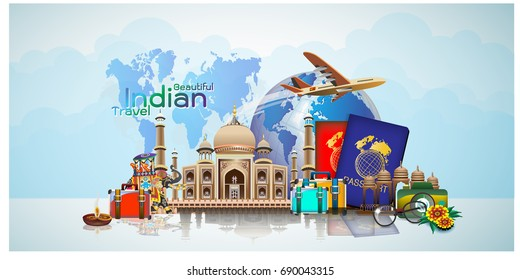 Travel composition with famous world landmarks. Travel and Tourism  in indian   template. Vector illustration. Modern 3D design.