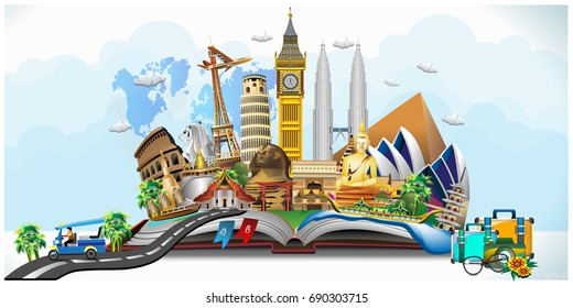 Travel composition with famous world landmarks. Travel and Tourism. Vector illustration 3D