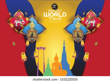 Travel composition with famous world landmarks.vector illustration of Info graphic elements for traveling to Thailand, concept Travel to Thailand. Info graphic Element / icon / Symbol , Vector Design