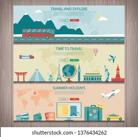 Travel composition with world landmarks and travel equipment. Travel and Tourism. Concept website template. Vector