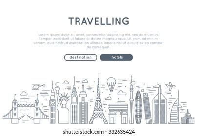 travel concept banner vector. in modern line style. for business and advertisement web sites. app and web design elements