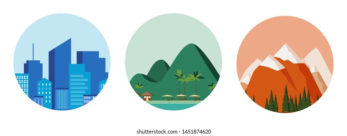 Travel concept - blue city, green beach and red mountains. Applicable as background or icons for travel design. Three detailed icons. Vector illustration.