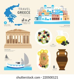 Travel Concept Greece Landmark Flat Icons Design .Vector Illustration