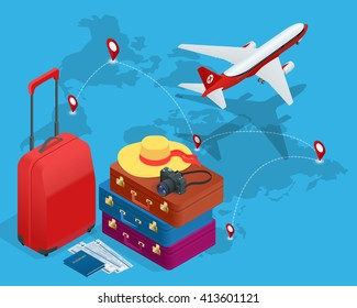 Travel concept. Greeting card.  Bags, passport, photo camera and  tickets and airplane in sky. Isometric flat 3d illustration
