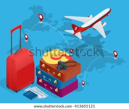 Travel concept greeting card bags passport stock vector royalty greeting card bags passport photo camera and tickets and airplane m4hsunfo