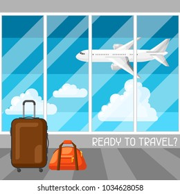 Travel concept illustration at the airport. Traveling background with airplane and suitcases.