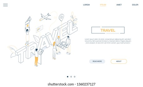 Travel concept - line design style isometric web banner on white background with copy space for text. A header with tourists going on vacation, with documents, ticket, at the check-in, holding the map