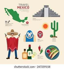 Travel Concept Mexico Landmark Flat Icons Design .Vector Illustration 14972328534