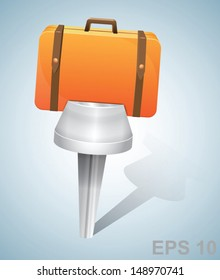 Travel concept: pin with suitcase. Vector illustration