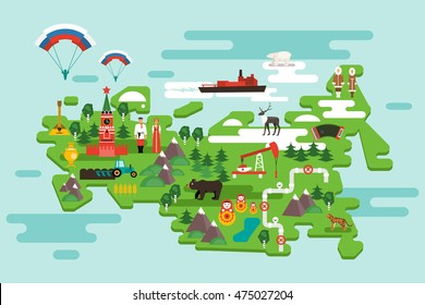 Travel concept Russia. National symbols, national costumes. Famous attractions of the country. Vector infographics in flat style