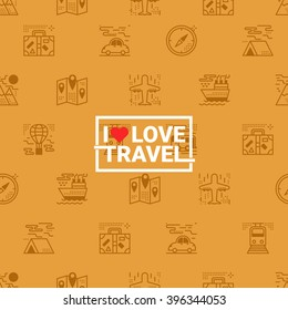 Travel concept seamless orange background with transportation icons and i love travel word ideal for wrapping paper and packaging