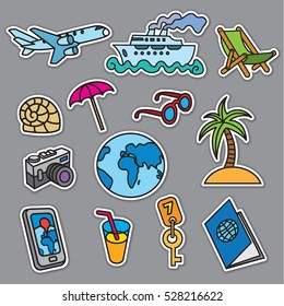 travel concept stickers, sea resort, cruise and journey