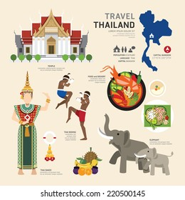 Travel Concept Thailand Landmark Flat Icons Design .Vector Illustration