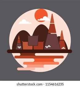 Travel concept of tourism temple in Thailand culture, flat style design.