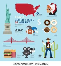 Travel Concept USA Landmark Flat Icons Design .Vector Illustration